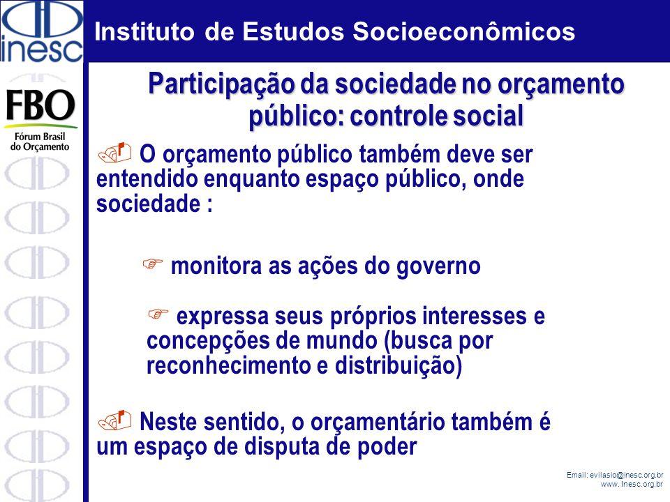 Instituto de Estudos Socioeconômicos Email: evilasio@inesc.org.br www. Inesc.org.br. O orçamento público também deve ser entendido enquanto espaço púb