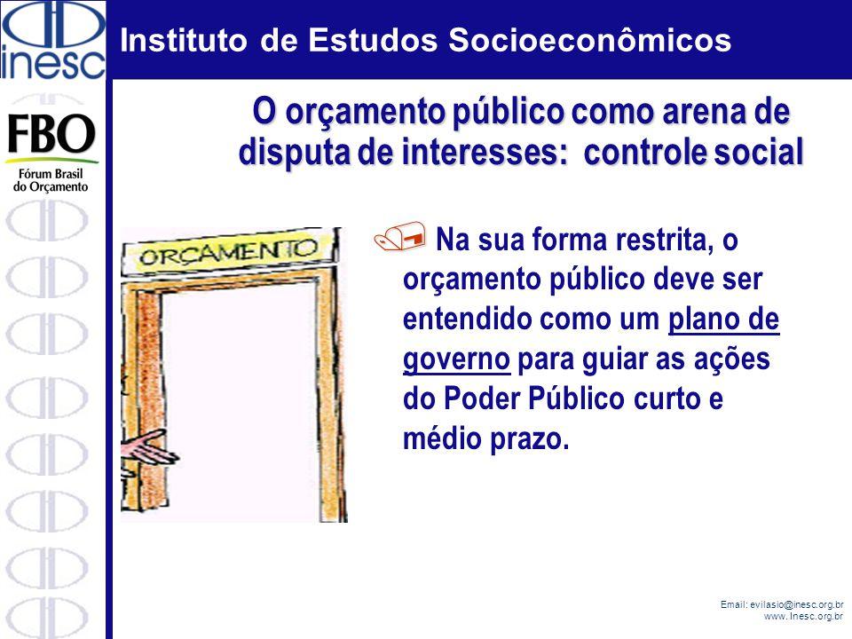 Instituto de Estudos Socioeconômicos Email: evilasio@inesc.org.br www. Inesc.org.br O orçamento público como arena de disputa de interesses: controle