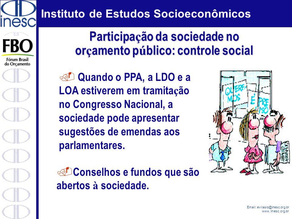 Instituto de Estudos Socioeconômicos Email: evilasio@inesc.org.br www. Inesc.org.br. Quando o PPA, a LDO e a LOA estiverem em tramita ç ão no Congress