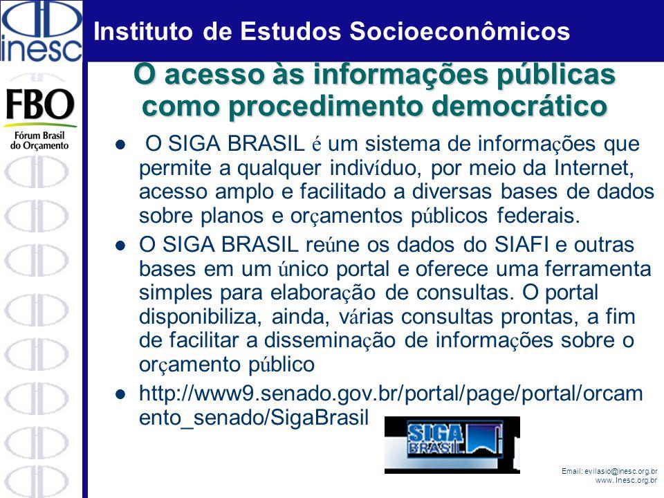 Instituto de Estudos Socioeconômicos Email: evilasio@inesc.org.br www. Inesc.org.br O SIGA BRASIL é um sistema de informa ç ões que permite a qualquer