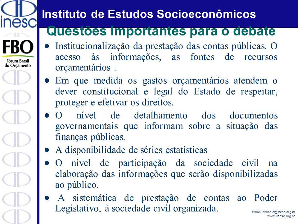 Instituto de Estudos Socioeconômicos Email: evilasio@inesc.org.br www. Inesc.org.br Questões Importantes para o debate Institucionalização da prestaçã