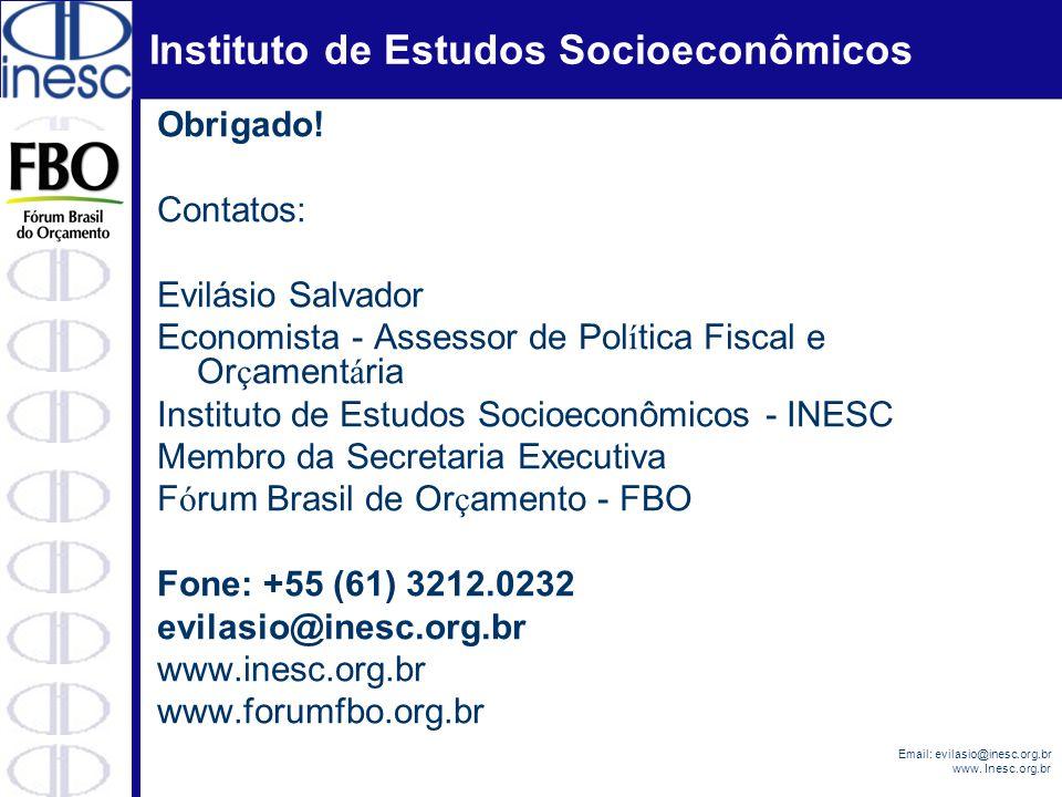 Instituto de Estudos Socioeconômicos Email: evilasio@inesc.org.br www. Inesc.org.br Obrigado! Contatos: Evilásio Salvador Economista - Assessor de Pol