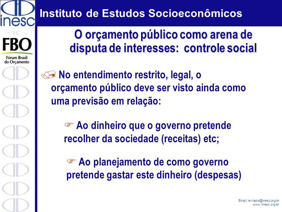 Instituto de Estudos Socioeconômicos Email: evilasio@inesc.org.br www. Inesc.org.br / No entendimento restrito, legal, o orçamento público deve ser vi