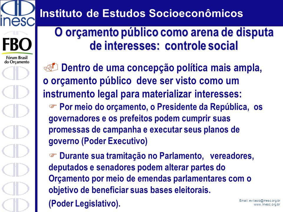 Instituto de Estudos Socioeconômicos Email: evilasio@inesc.org.br www. Inesc.org.br. Dentro de uma concepção política mais ampla, o orçamento público