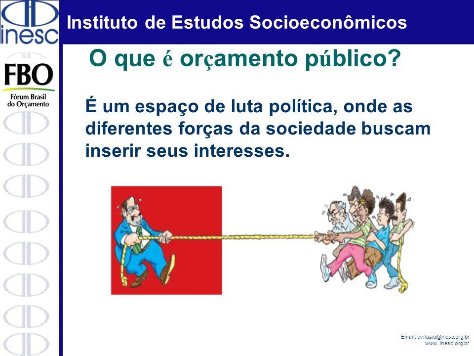 Instituto de Estudos Socioeconômicos Email: evilasio@inesc.org.br www. Inesc.org.br O que é or ç amento p ú blico? É um espaço de luta política, onde