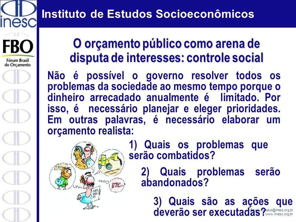 Instituto de Estudos Socioeconômicos Email: evilasio@inesc.org.br www. Inesc.org.br Não é possível o governo resolver todos os problemas da sociedade