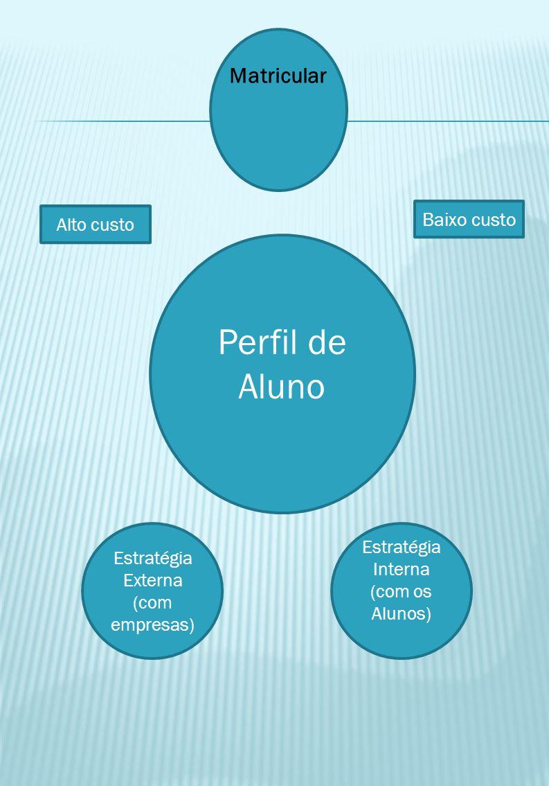 Matricular Alto custo Baixo custo Perfil de Aluno Estratégia Externa (com empresas) Estratégia Interna (com os Alunos)