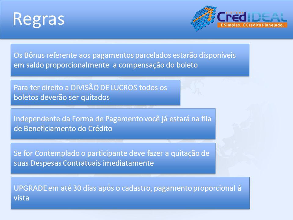 Regras Os Bônus referente aos pagamentos parcelados estarão disponíveis em saldo proporcionalmente a compensação do boleto Independente da Forma de Pa