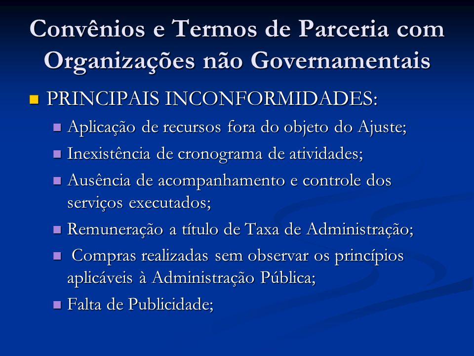 Convênios e Termos de Parceria com Organizações não Governamentais PRINCIPAIS INCONFORMIDADES: PRINCIPAIS INCONFORMIDADES: Aplicação de recursos fora