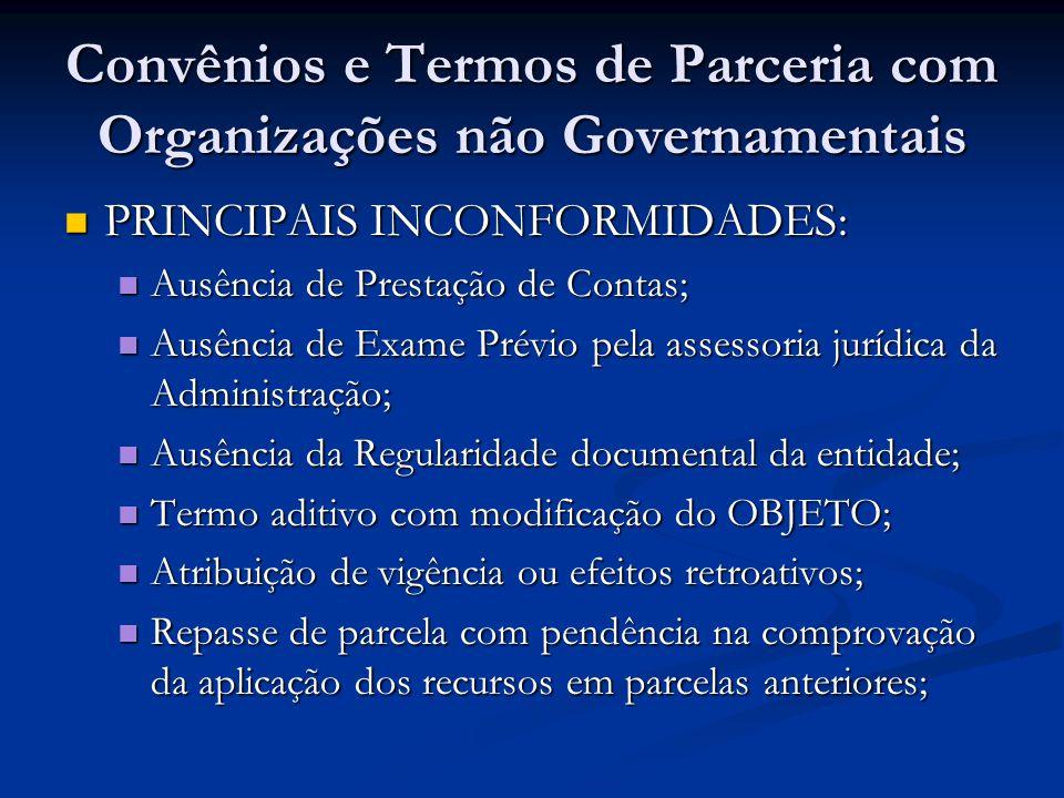 Convênios e Termos de Parceria com Organizações não Governamentais PRINCIPAIS INCONFORMIDADES: PRINCIPAIS INCONFORMIDADES: Ausência de Prestação de Co