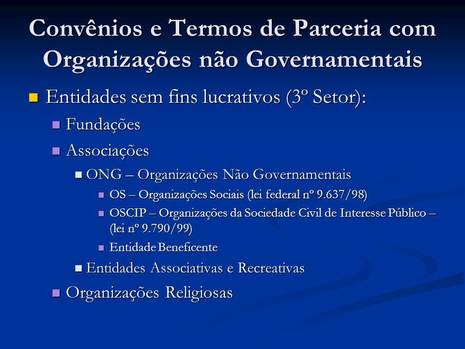 Convênios e Termos de Parceria com Organizações não Governamentais Entidades sem fins lucrativos (3º Setor): Entidades sem fins lucrativos (3º Setor):