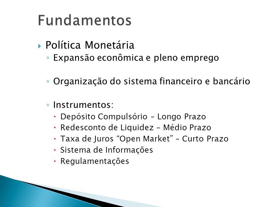 Política Monetária Expansão econômica e pleno emprego Organização do sistema financeiro e bancário Instrumentos: Depósito Compulsório – Longo Prazo Re