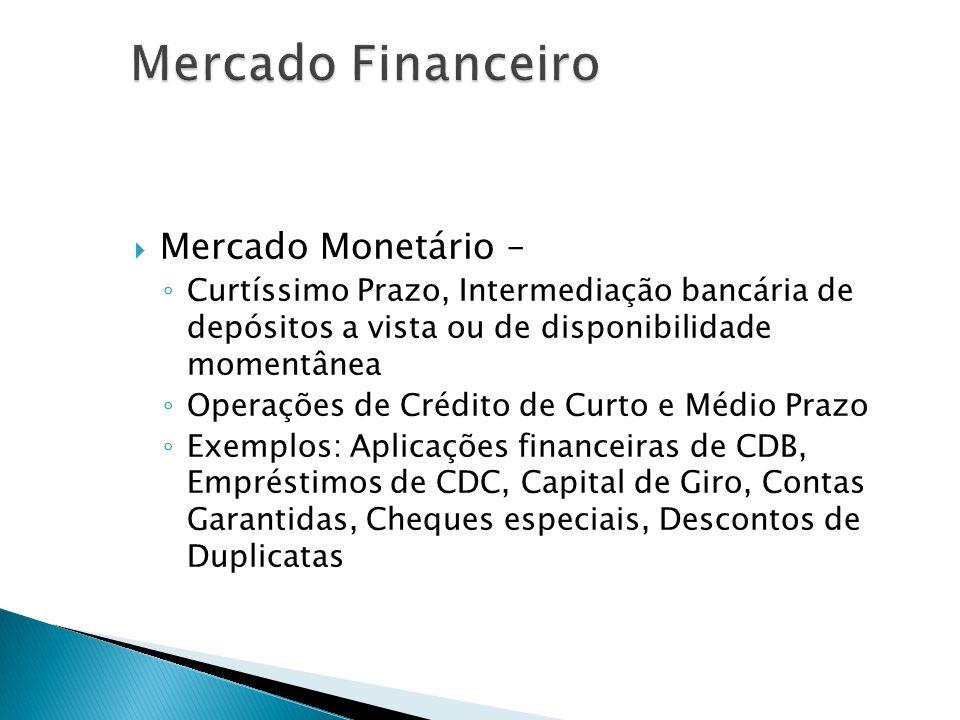 Mercado Monetário – Curtíssimo Prazo, Intermediação bancária de depósitos a vista ou de disponibilidade momentânea Operações de Crédito de Curto e Méd