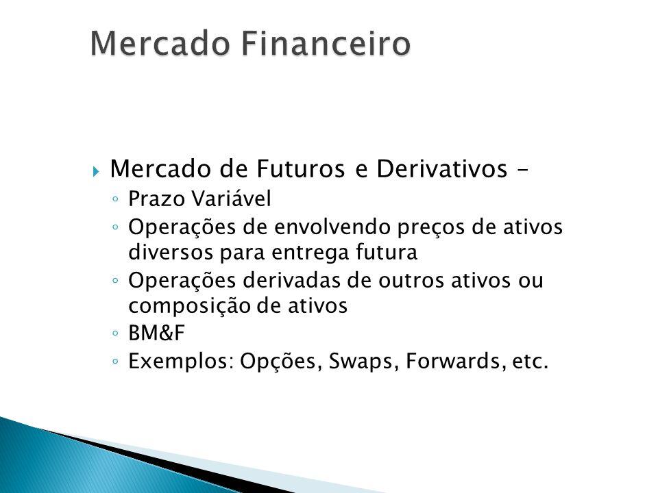 Mercado de Futuros e Derivativos – Prazo Variável Operações de envolvendo preços de ativos diversos para entrega futura Operações derivadas de outros