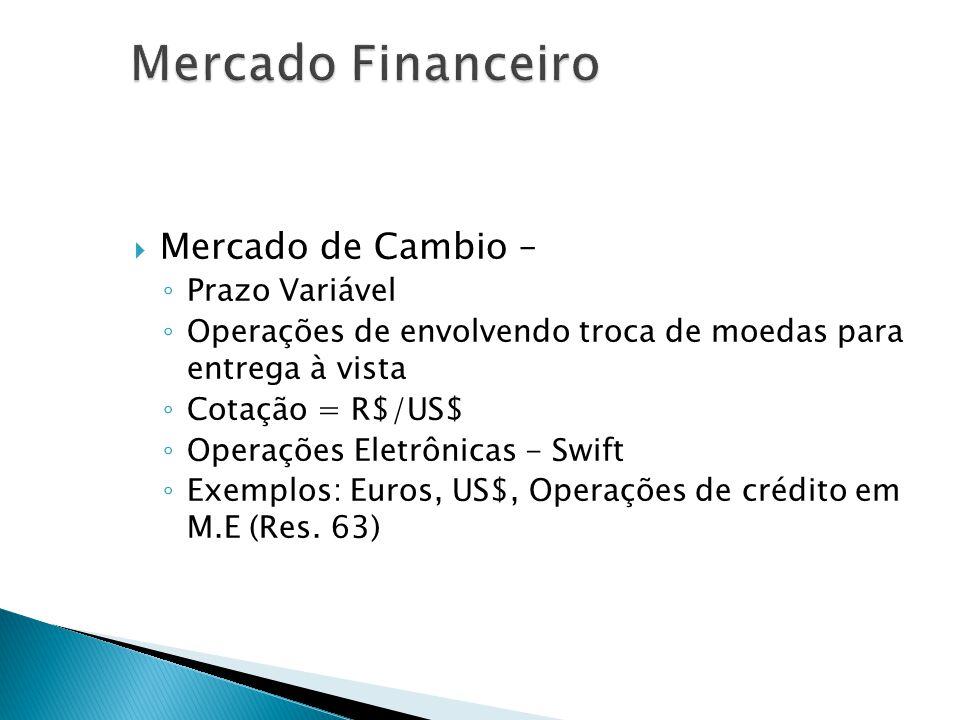 Mercado de Cambio – Prazo Variável Operações de envolvendo troca de moedas para entrega à vista Cotação = R$/US$ Operações Eletrônicas - Swift Exemplo