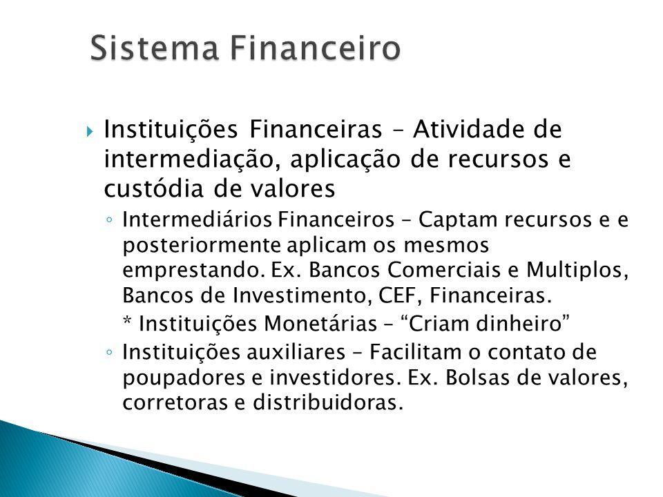 Instituições Financeiras – Atividade de intermediação, aplicação de recursos e custódia de valores Intermediários Financeiros – Captam recursos e e po