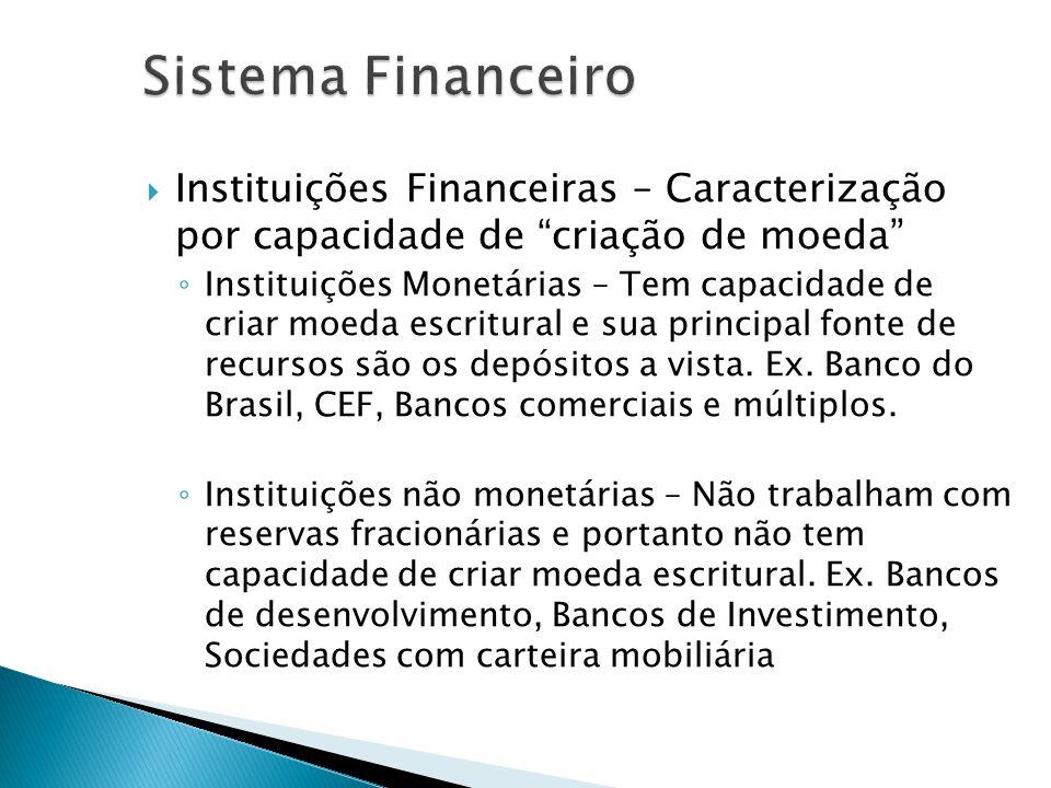 Instituições Financeiras – Caracterização por capacidade de criação de moeda Instituições Monetárias – Tem capacidade de criar moeda escritural e sua