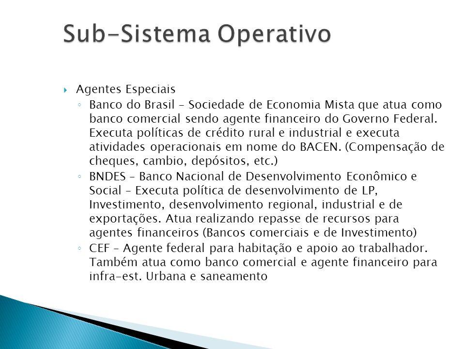 Agentes Especiais Banco do Brasil – Sociedade de Economia Mista que atua como banco comercial sendo agente financeiro do Governo Federal. Executa polí