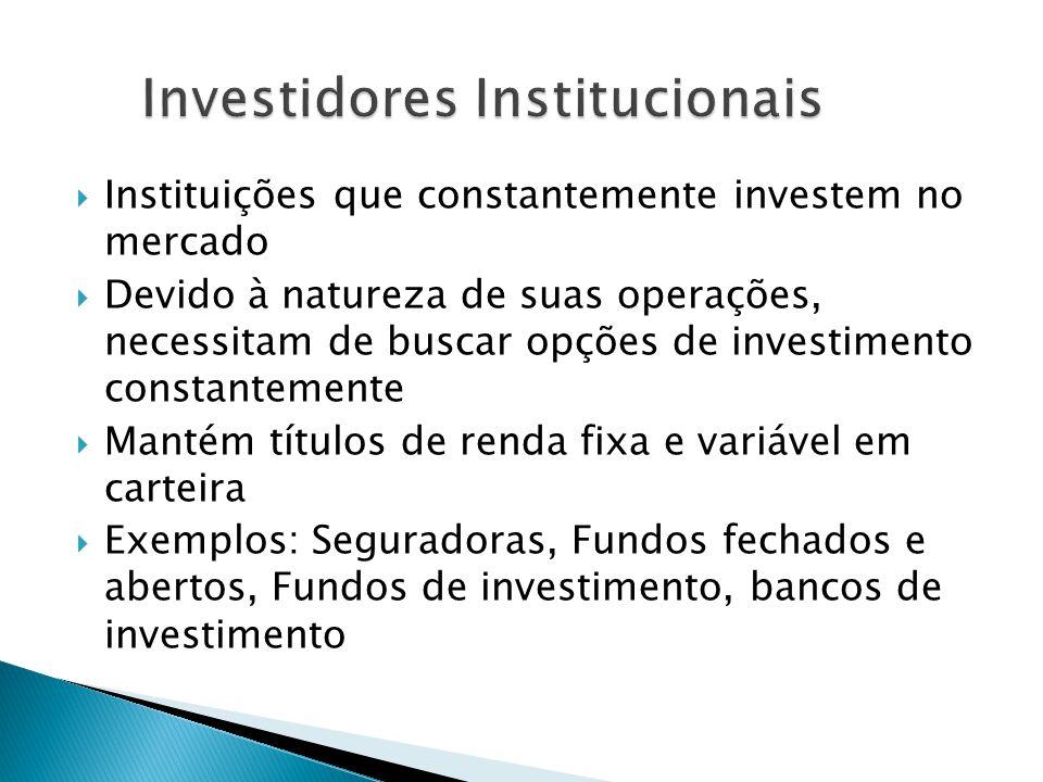 Instituições que constantemente investem no mercado Devido à natureza de suas operações, necessitam de buscar opções de investimento constantemente Ma