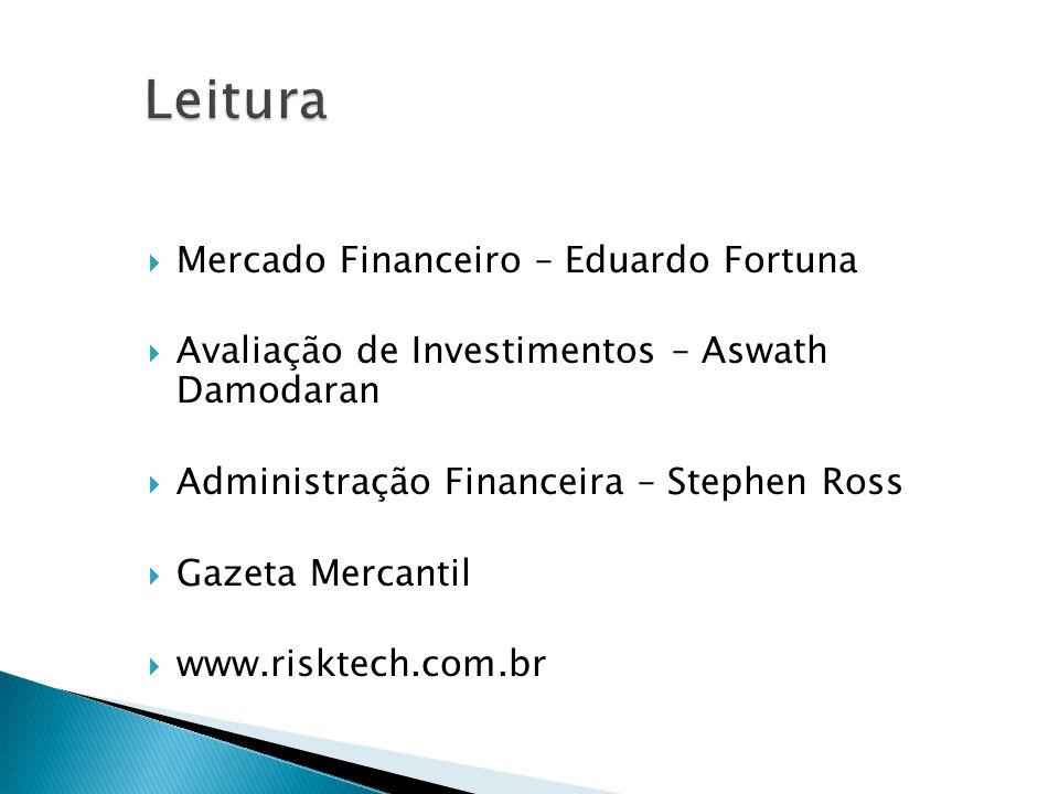 Mercado Financeiro – Eduardo Fortuna Avaliação de Investimentos – Aswath Damodaran Administração Financeira – Stephen Ross Gazeta Mercantil www.riskte