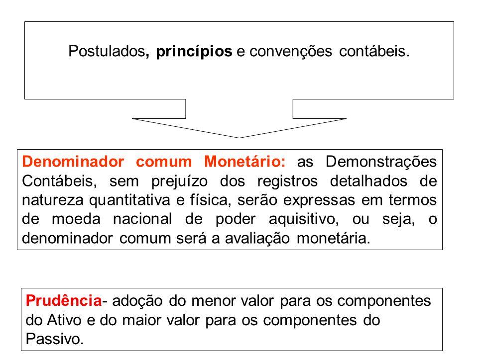 Denominador comum Monetário: as Demonstrações Contábeis, sem prejuízo dos registros detalhados de natureza quantitativa e física, serão expressas em t