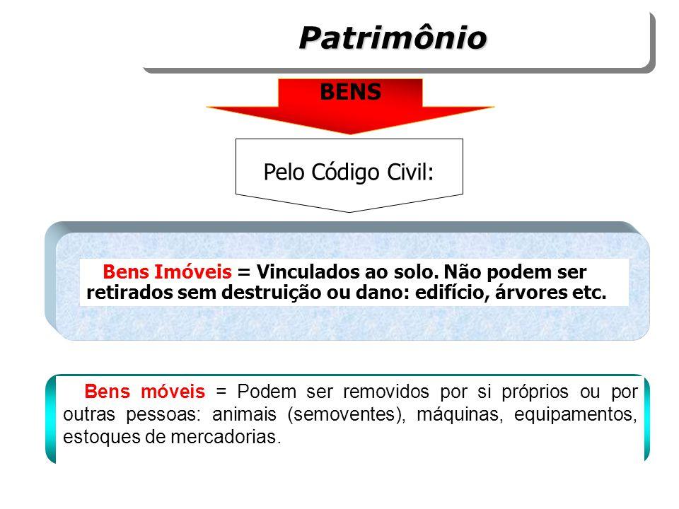 BENS Pelo Código Civil: Bens móveis = Podem ser removidos por si próprios ou por outras pessoas: animais (semoventes), máquinas, equipamentos, estoque
