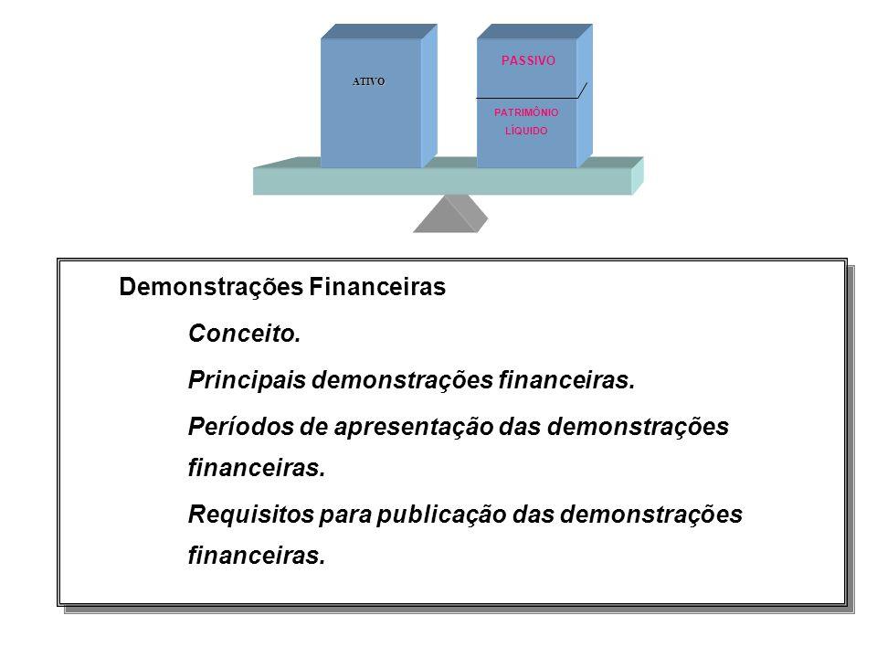 3. Demonstrações Financeiras Conceito. Principais demonstrações financeiras. Períodos de apresentação das demonstrações financeiras. Requisitos para p