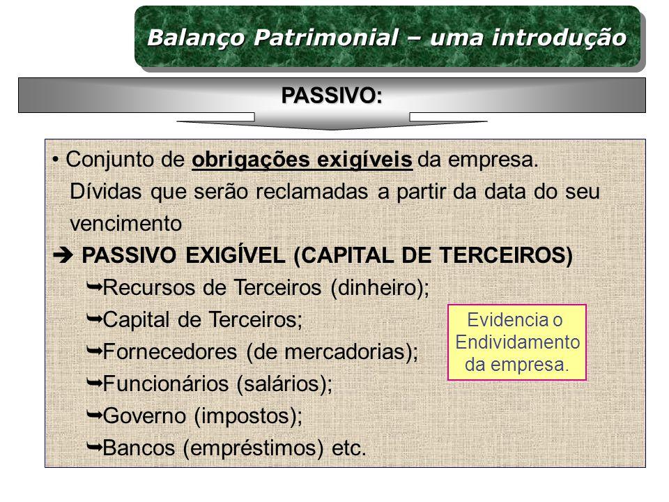 Conjunto de obrigações exigíveis da empresa. Dívidas que serão reclamadas a partir da data do seu vencimento PASSIVO EXIGÍVEL (CAPITAL DE TERCEIROS) R