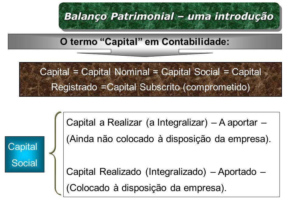 Capital a Realizar (a Integralizar) – A aportar – (Ainda não colocado à disposição da empresa). Capital Realizado (Integralizado) – Aportado – (Coloca