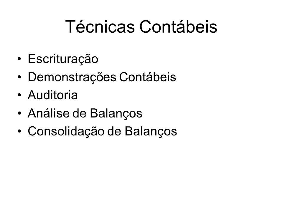 Técnicas Contábeis Escrituração Demonstrações Contábeis Auditoria Análise de Balanços Consolidação de Balanços