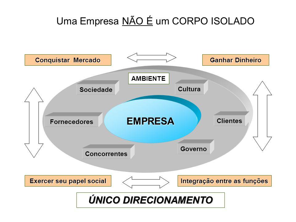 Uma Empresa NÃO É um CORPO ISOLADO ÚNICO DIRECIONAMENTO Conquistar Mercado Integração entre as funções Exercer seu papel social Ganhar Dinheiro AMBIEN