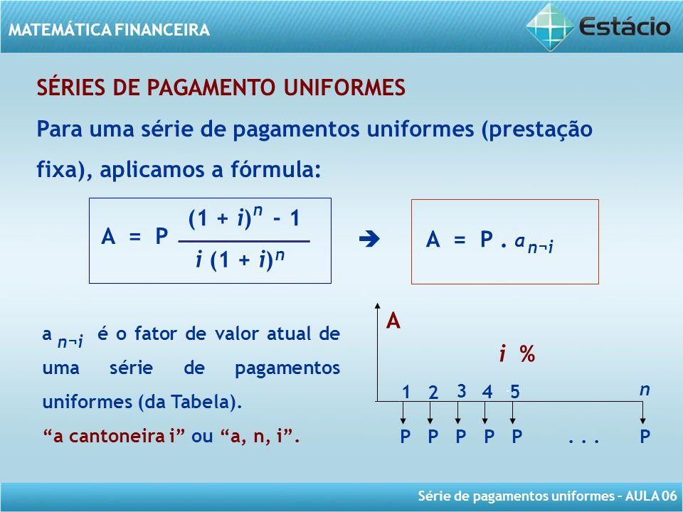 Série de pagamentos uniformes – AULA 06 MATEMÁTICA FINANCEIRA SÉRIES DE PAGAMENTO UNIFORMES Para uma série de pagamentos uniformes (prestação fixa), a