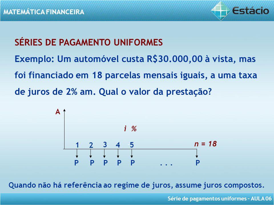 Série de pagamentos uniformes – AULA 06 MATEMÁTICA FINANCEIRA SÉRIES DE PAGAMENTO UNIFORMES Exemplo: Um automóvel custa R$30.000,00 à vista, mas foi f
