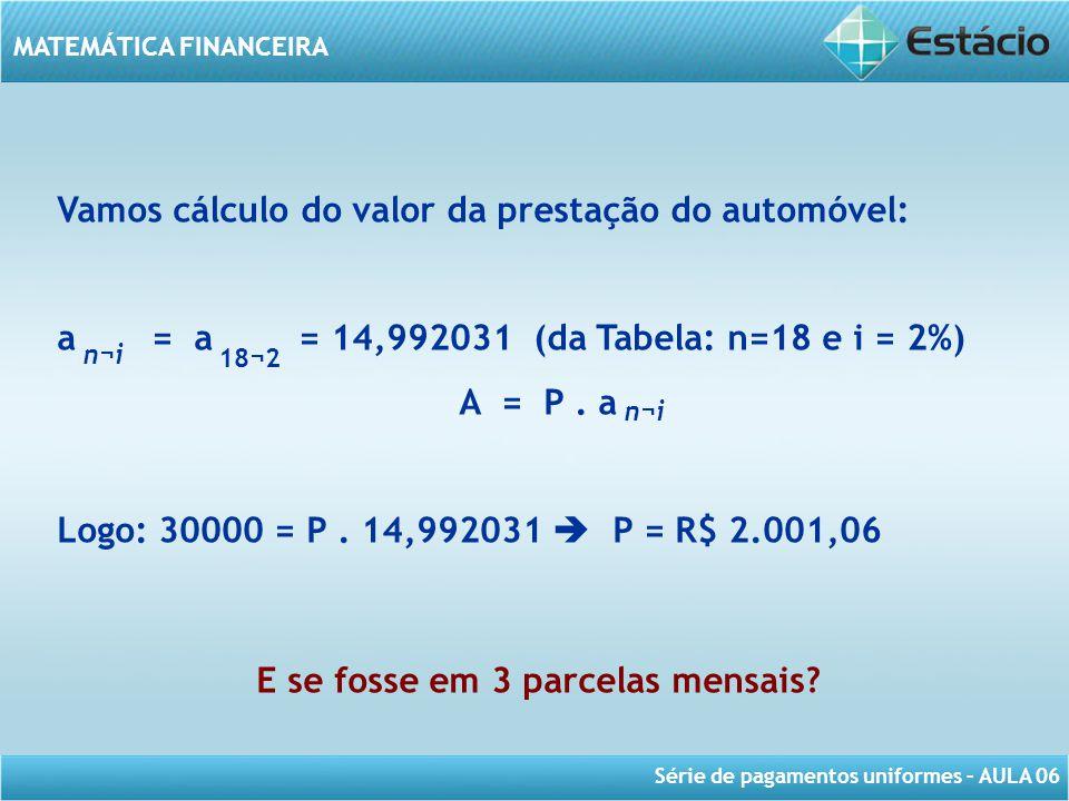 Série de pagamentos uniformes – AULA 06 MATEMÁTICA FINANCEIRA Vamos cálculo do valor da prestação do automóvel: a = a = 14,992031 (da Tabela: n=18 e i