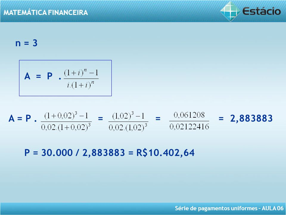 Série de pagamentos uniformes – AULA 06 MATEMÁTICA FINANCEIRA n = 3 A = P. A = P. = = = 2,883883 P = 30.000 / 2,883883 = R$10.402,64