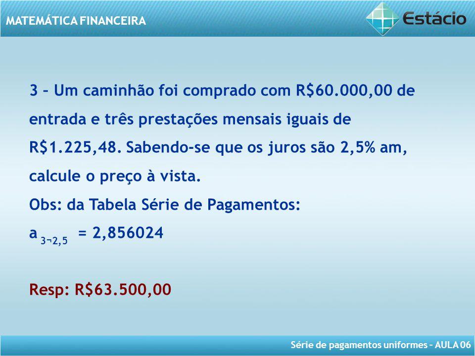 Série de pagamentos uniformes – AULA 06 MATEMÁTICA FINANCEIRA 3 – Um caminhão foi comprado com R$60.000,00 de entrada e três prestações mensais iguais