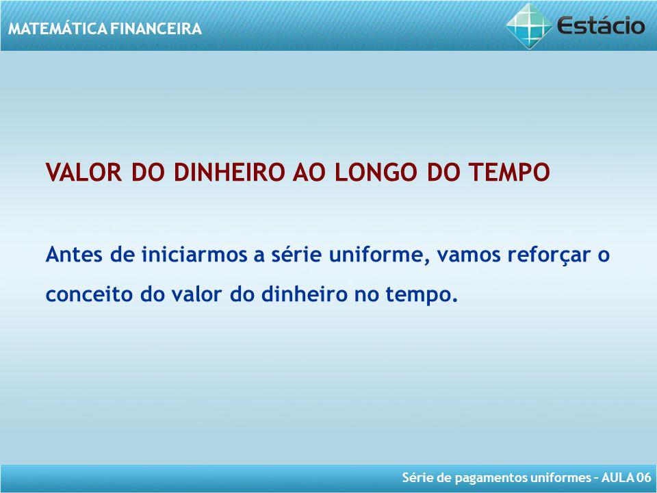 Série de pagamentos uniformes – AULA 06 MATEMÁTICA FINANCEIRA VALOR DO DINHEIRO AO LONGO DO TEMPO Antes de iniciarmos a série uniforme, vamos reforçar