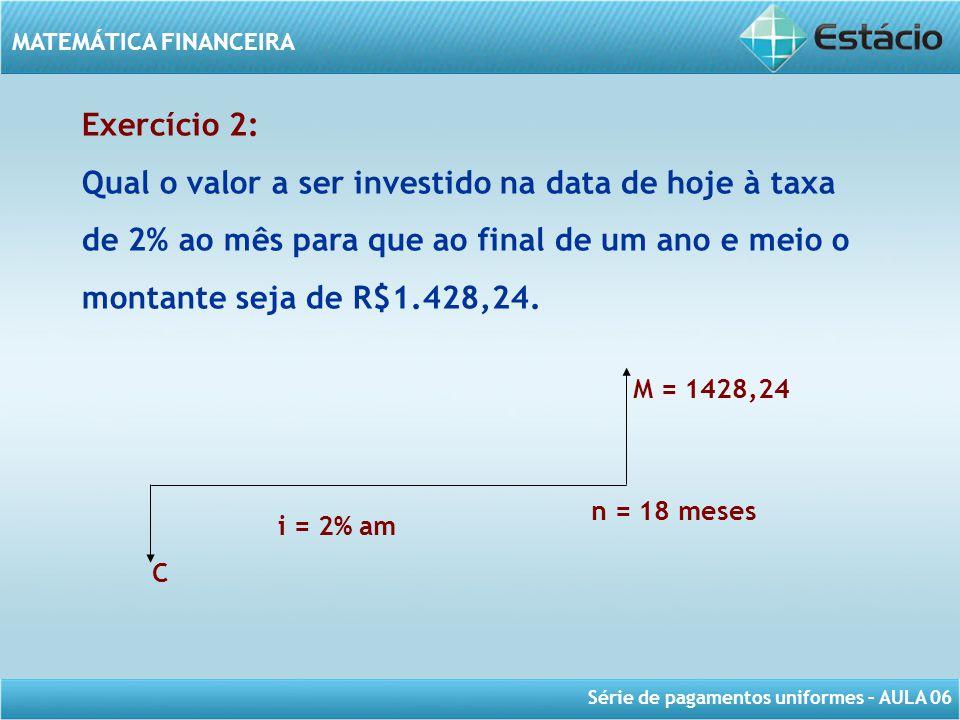 Série de pagamentos uniformes – AULA 06 MATEMÁTICA FINANCEIRA Exercício 2: Qual o valor a ser investido na data de hoje à taxa de 2% ao mês para que a