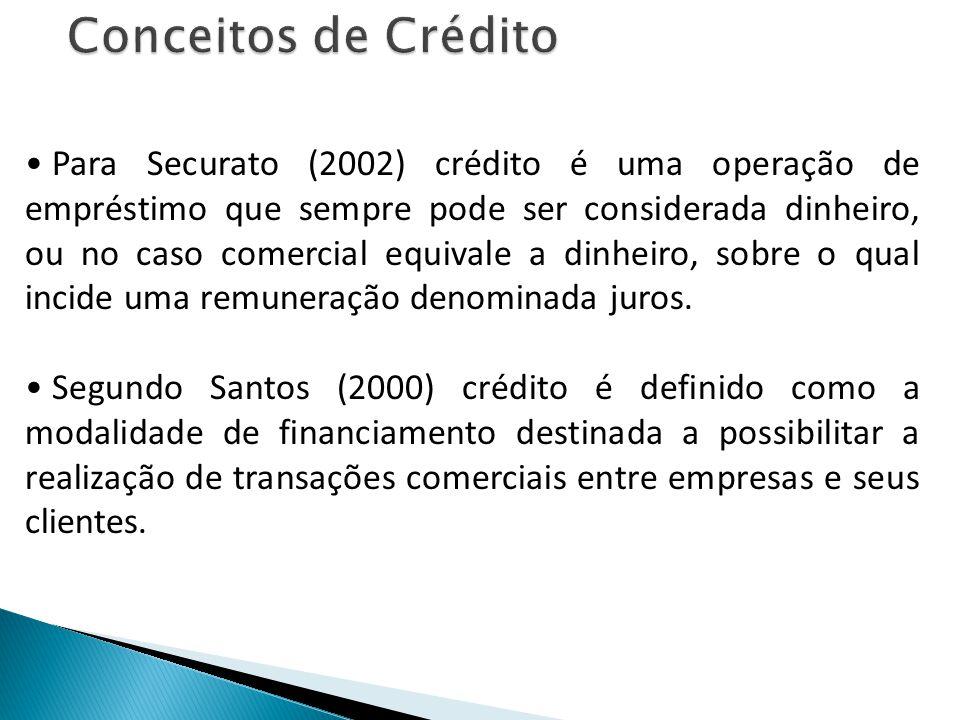Para Securato (2002) crédito é uma operação de empréstimo que sempre pode ser considerada dinheiro, ou no caso comercial equivale a dinheiro, sobre o qual incide uma remuneração denominada juros.