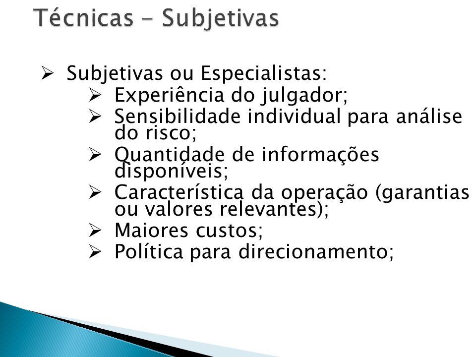 Técnicas - Subjetivas Subjetivas ou Especialistas: Experiência do julgador; Sensibilidade individual para análise do risco; Quantidade de informações