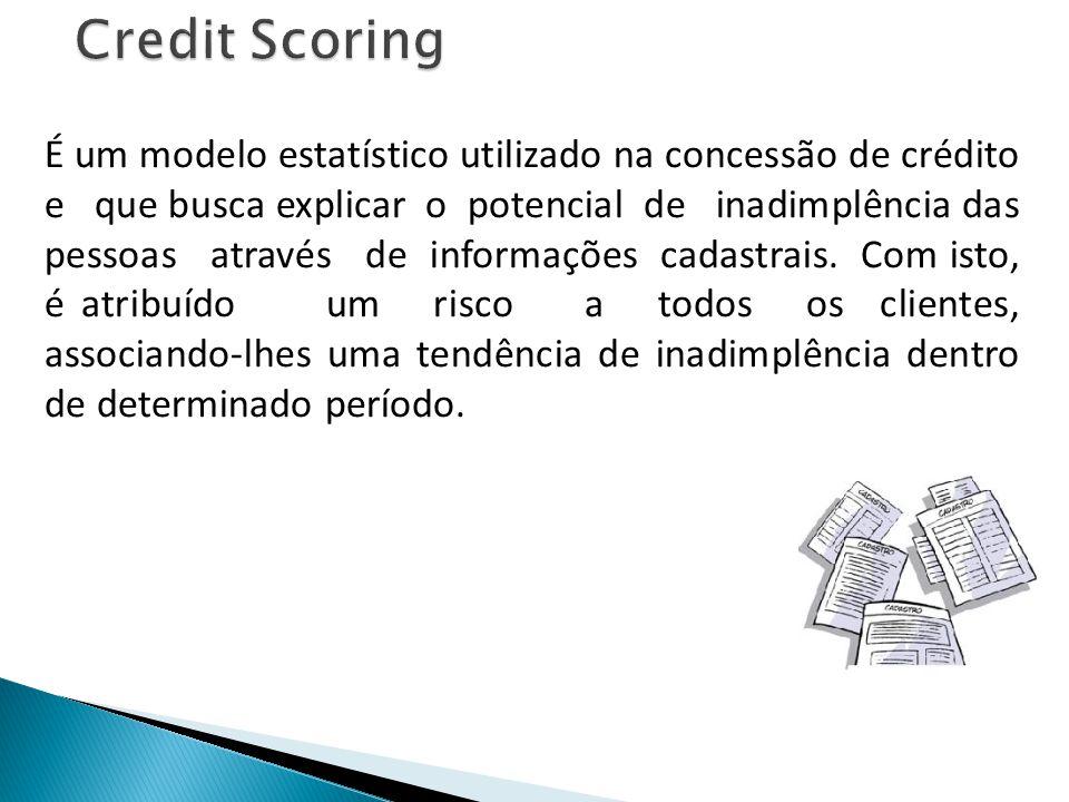 Credit Scoring É um modelo estatístico utilizado na concessão de crédito e que busca explicar o potencial de inadimplência das pessoas através de info