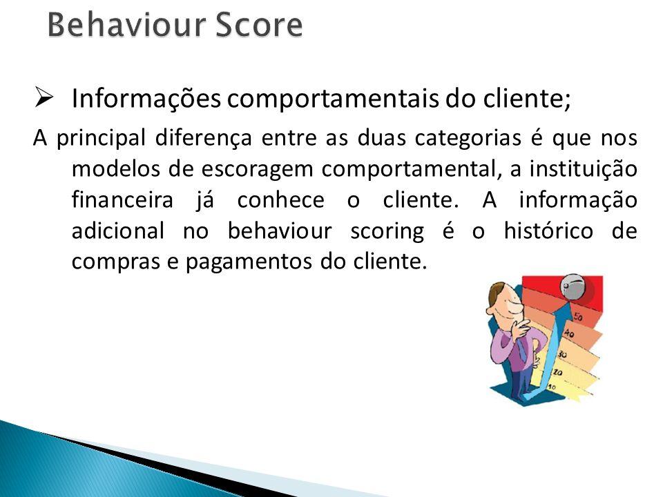 Behaviour Score Informações comportamentais do cliente; A principal diferença entre as duas categorias é que nos modelos de escoragem comportamental, a instituição financeira já conhece o cliente.