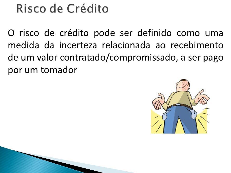 O risco de crédito pode ser definido como uma medida da incerteza relacionada ao recebimento de um valor contratado/compromissado, a ser pago por um tomador