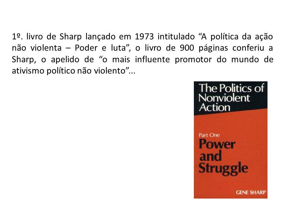 1º. livro de Sharp lançado em 1973 intitulado A política da ação não violenta – Poder e luta, o livro de 900 páginas conferiu a Sharp, o apelido de o