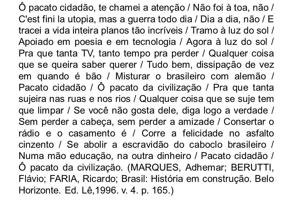 O texto de Samuel Rosa e Chico Amaral discute algumas questões relativas à sociedade contemporânea brasileira.