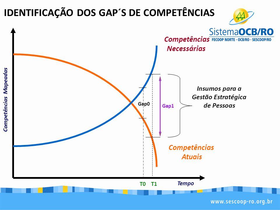 IDENTIFICAÇÃO DOS GAP´S DE COMPETÊNCIAS Insumos para a Gestão Estratégica de Pessoas T0T1 Competências Atuais Competências Necessárias Gap0 Gap1 Compe