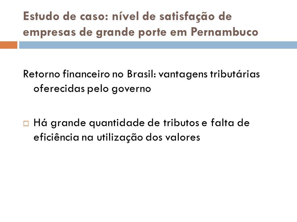 Estudo de caso: nível de satisfação de empresas de grande porte em Pernambuco Retorno financeiro no Brasil: vantagens tributárias oferecidas pelo gove