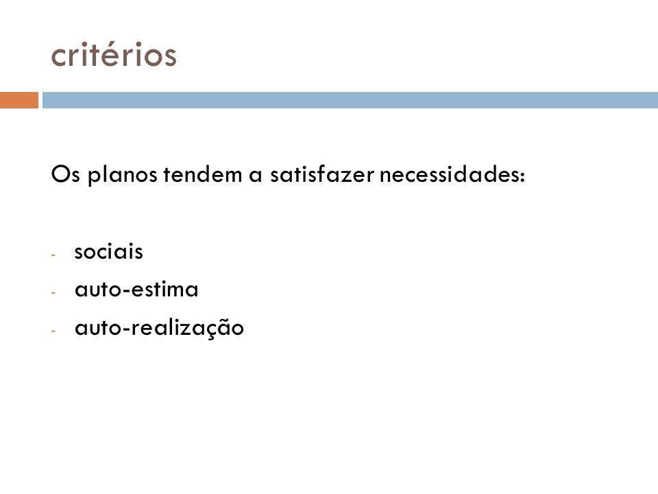 critérios Os planos tendem a satisfazer necessidades: - sociais - auto-estima - auto-realização