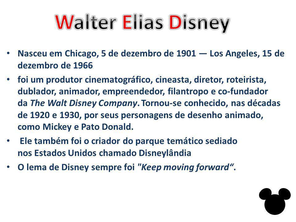Nasceu em Chicago, 5 de dezembro de 1901 Los Angeles, 15 de dezembro de 1966 foi um produtor cinematográfico, cineasta, diretor, roteirista, dublador, animador, empreendedor, filantropo e co-fundador da The Walt Disney Company.