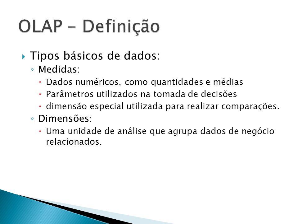Tipos básicos de dados: Medidas: Dados numéricos, como quantidades e médias Parâmetros utilizados na tomada de decisões dimensão especial utilizada pa